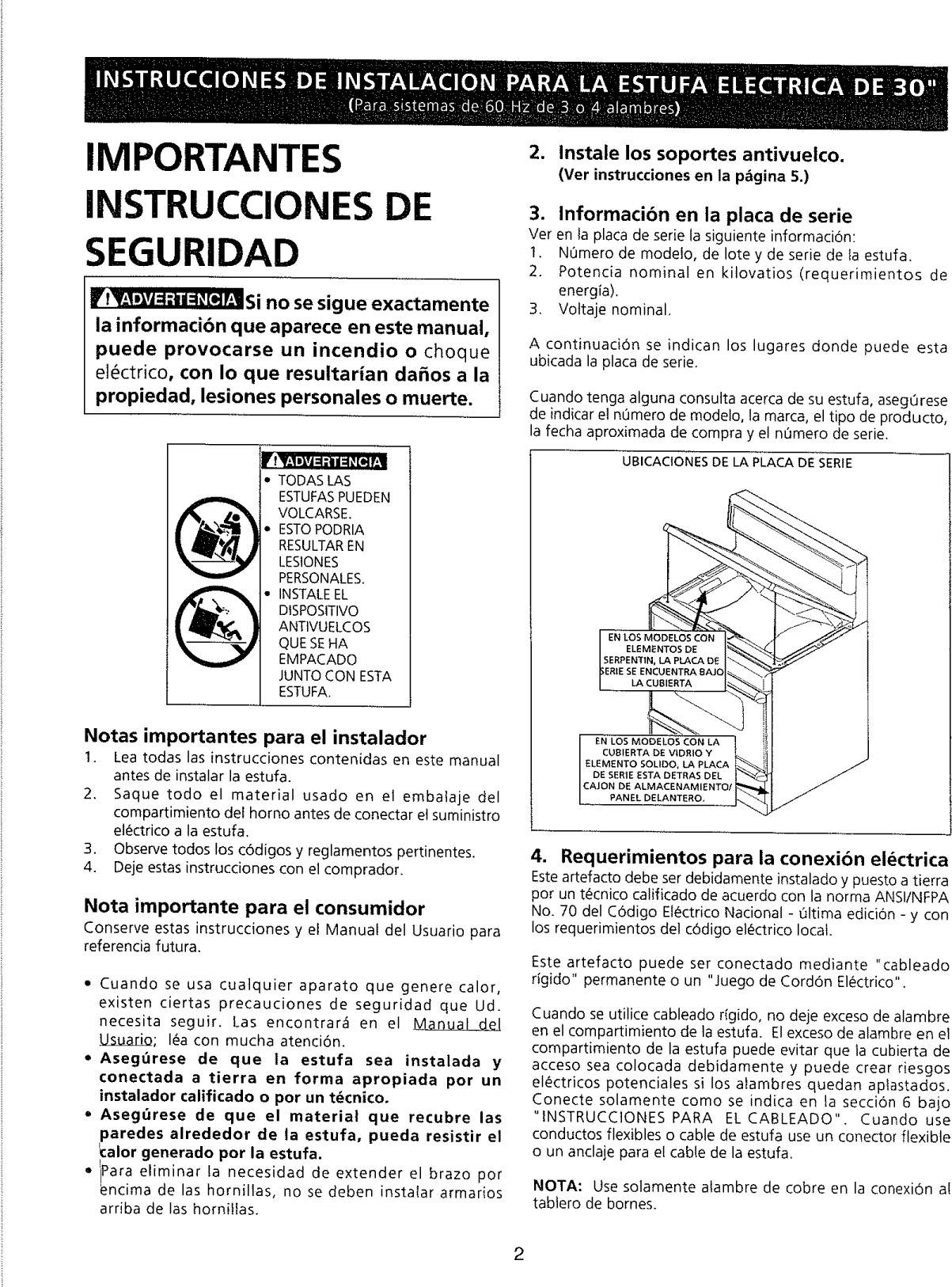 Page 2 of 6 - Frigidaire FEF363SGWA User Manual  ELECTRIC RANGE - Manuals And Guides L0901444