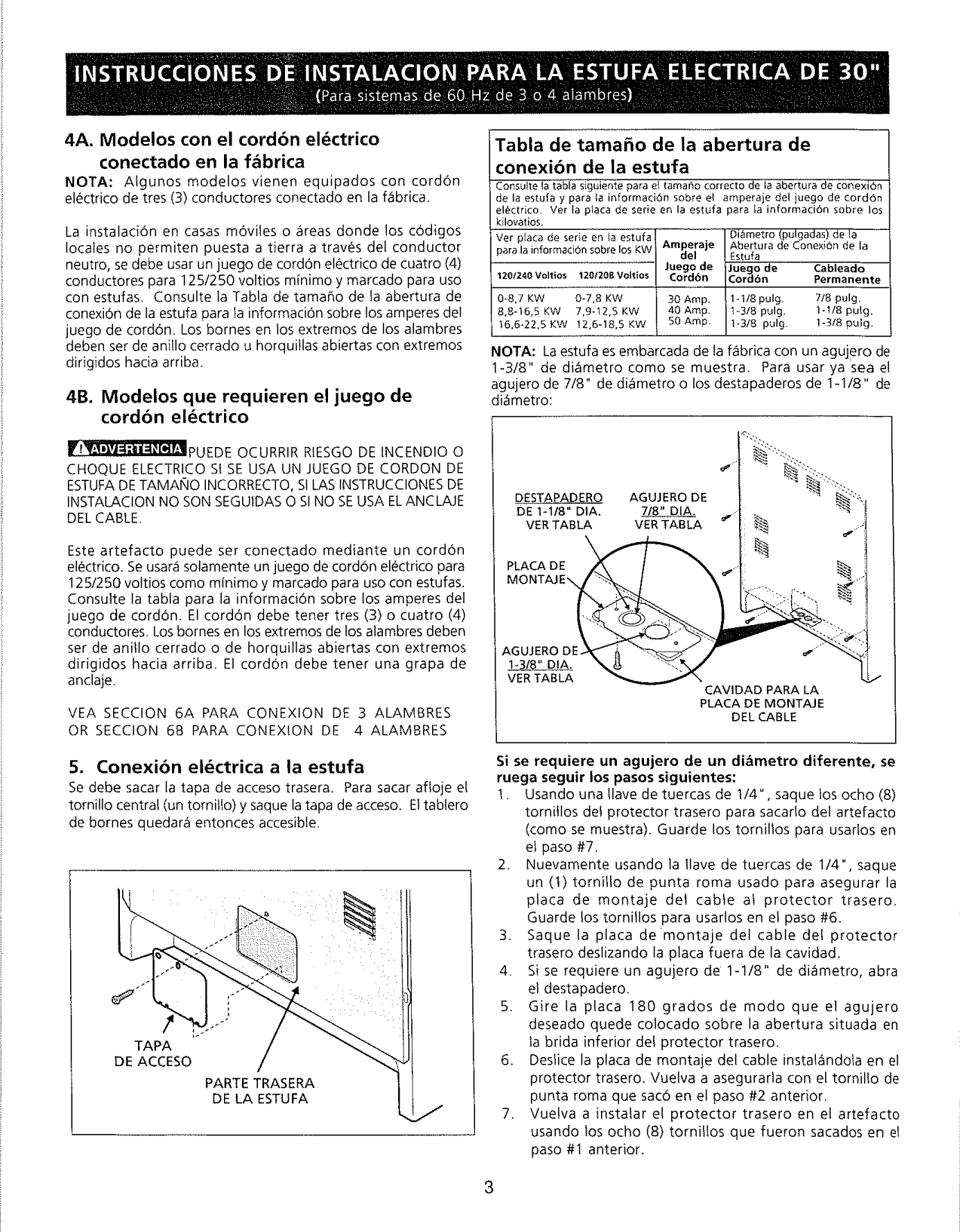 Page 3 of 6 - Frigidaire FEF363SGWA User Manual  ELECTRIC RANGE - Manuals And Guides L0901444