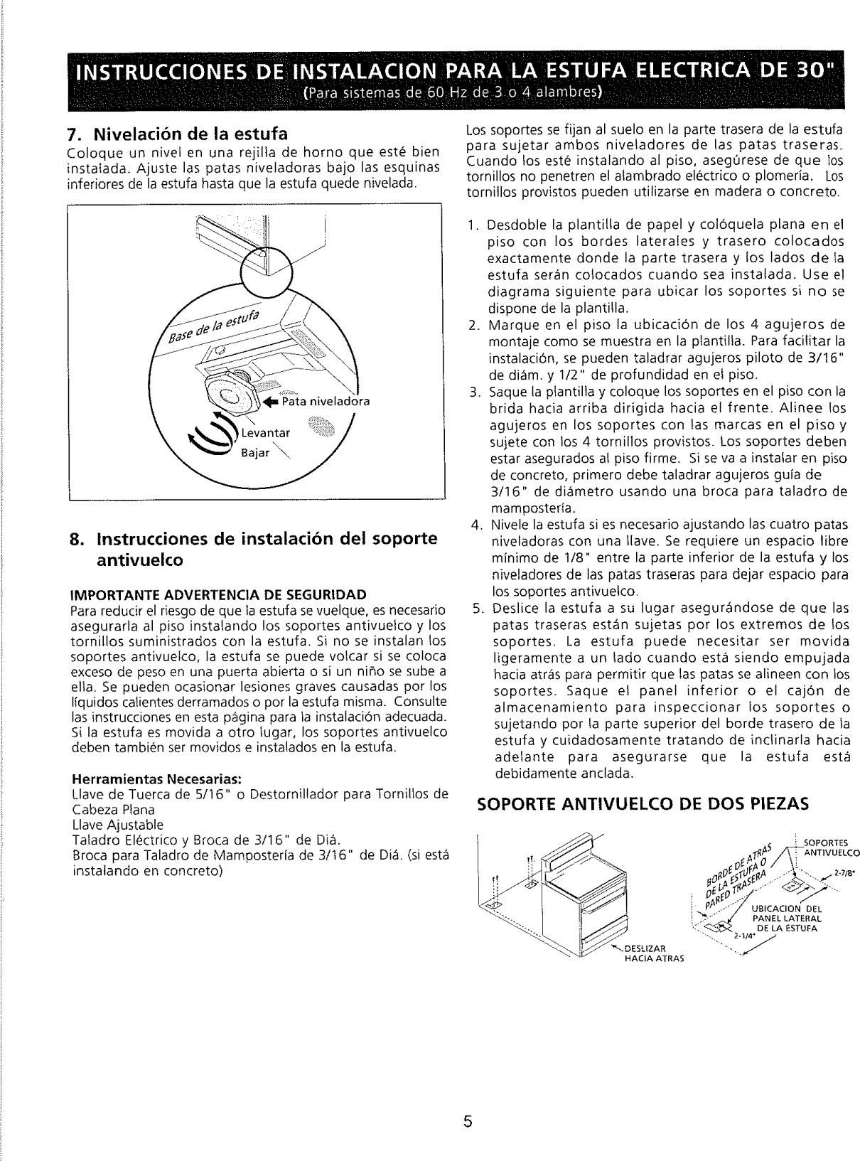 Page 5 of 6 - Frigidaire FEF363SGWA User Manual  ELECTRIC RANGE - Manuals And Guides L0901444