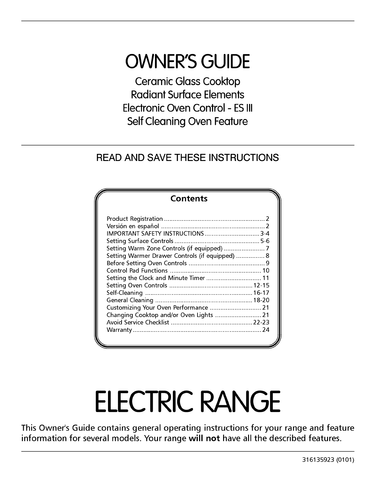Frigidaire FEF365CGSC User Manual ELECTRIC RANGE Manuals And