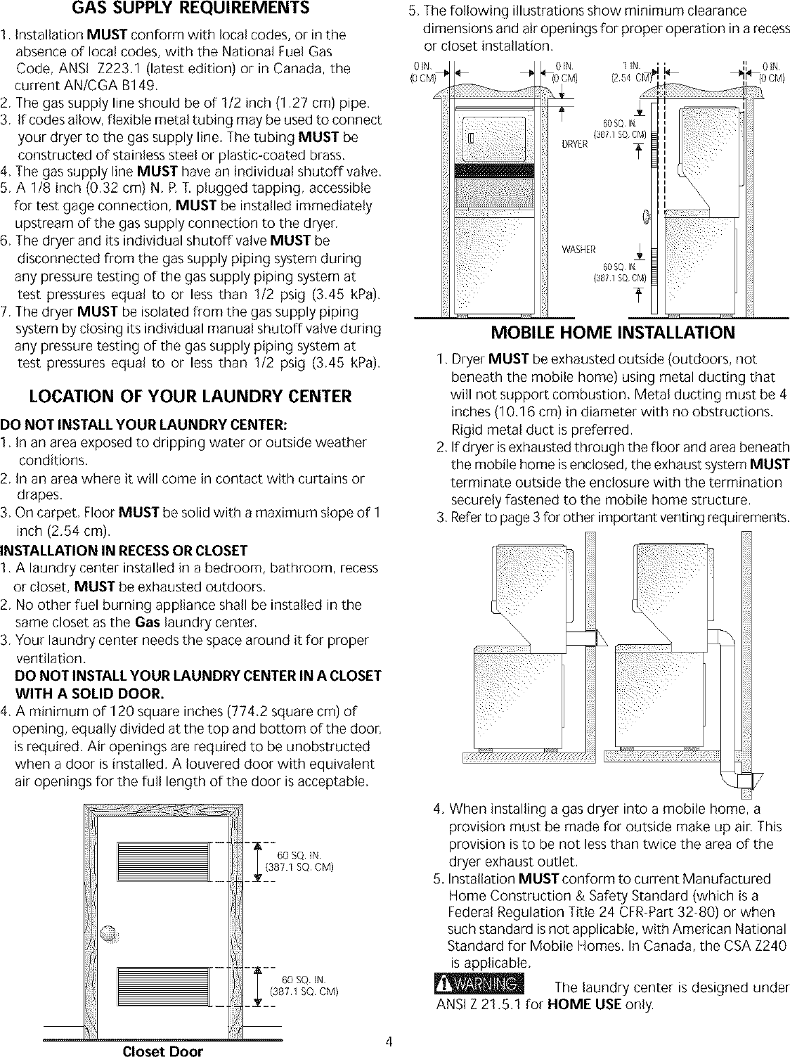 Page 4 of 8 - Frigidaire FEX831CS0 User Manual  LAUNDRY CENTER - Manuals And Guides L0304056