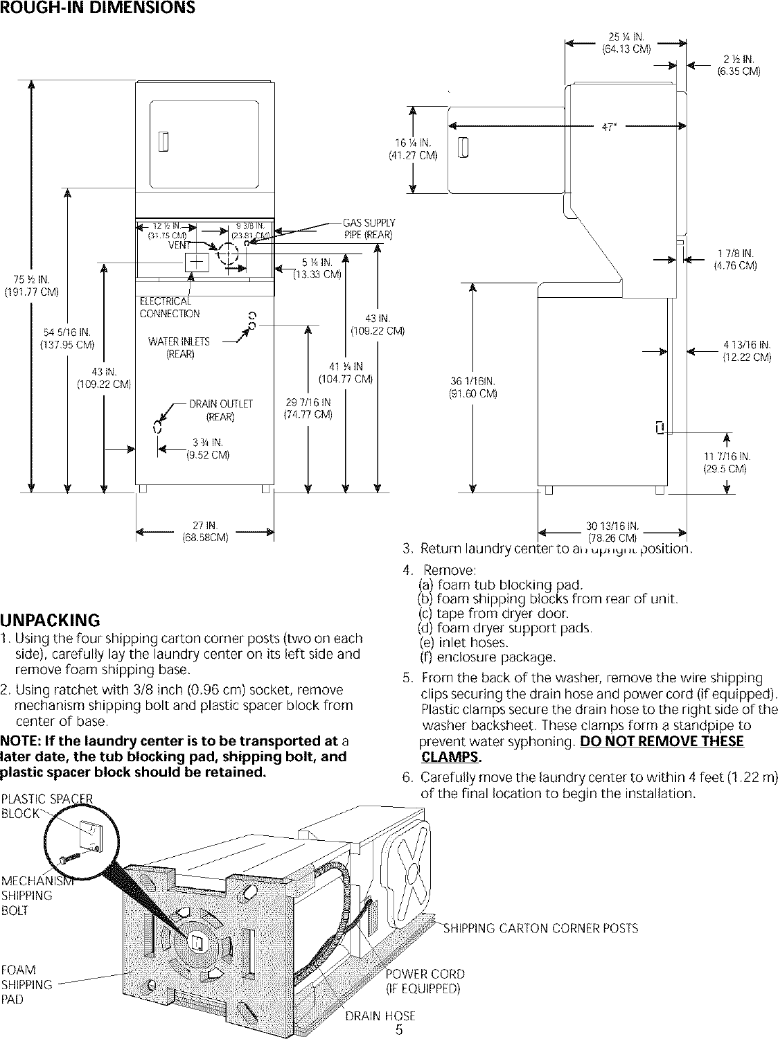 Page 5 of 8 - Frigidaire FEX831CS0 User Manual  LAUNDRY CENTER - Manuals And Guides L0304056