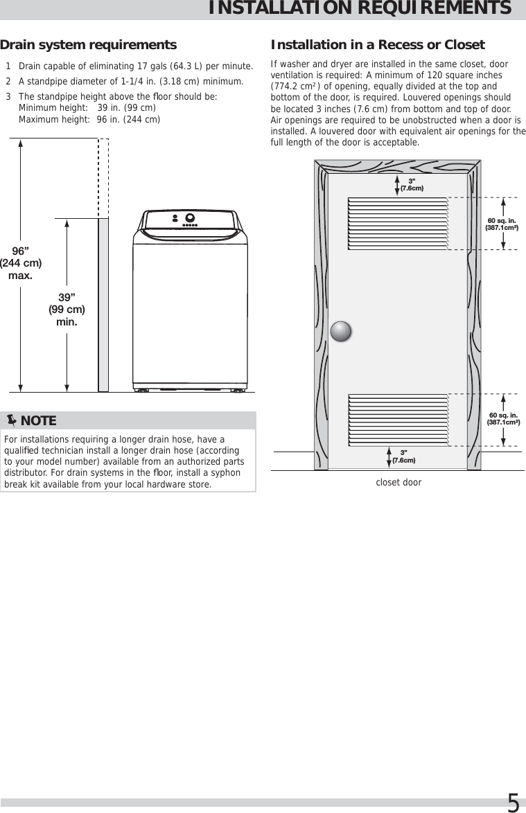 Frigidaire Fftw4120sw Washer Inst A07504201 User Manual Manuals And Schematic Page 5 Of 10