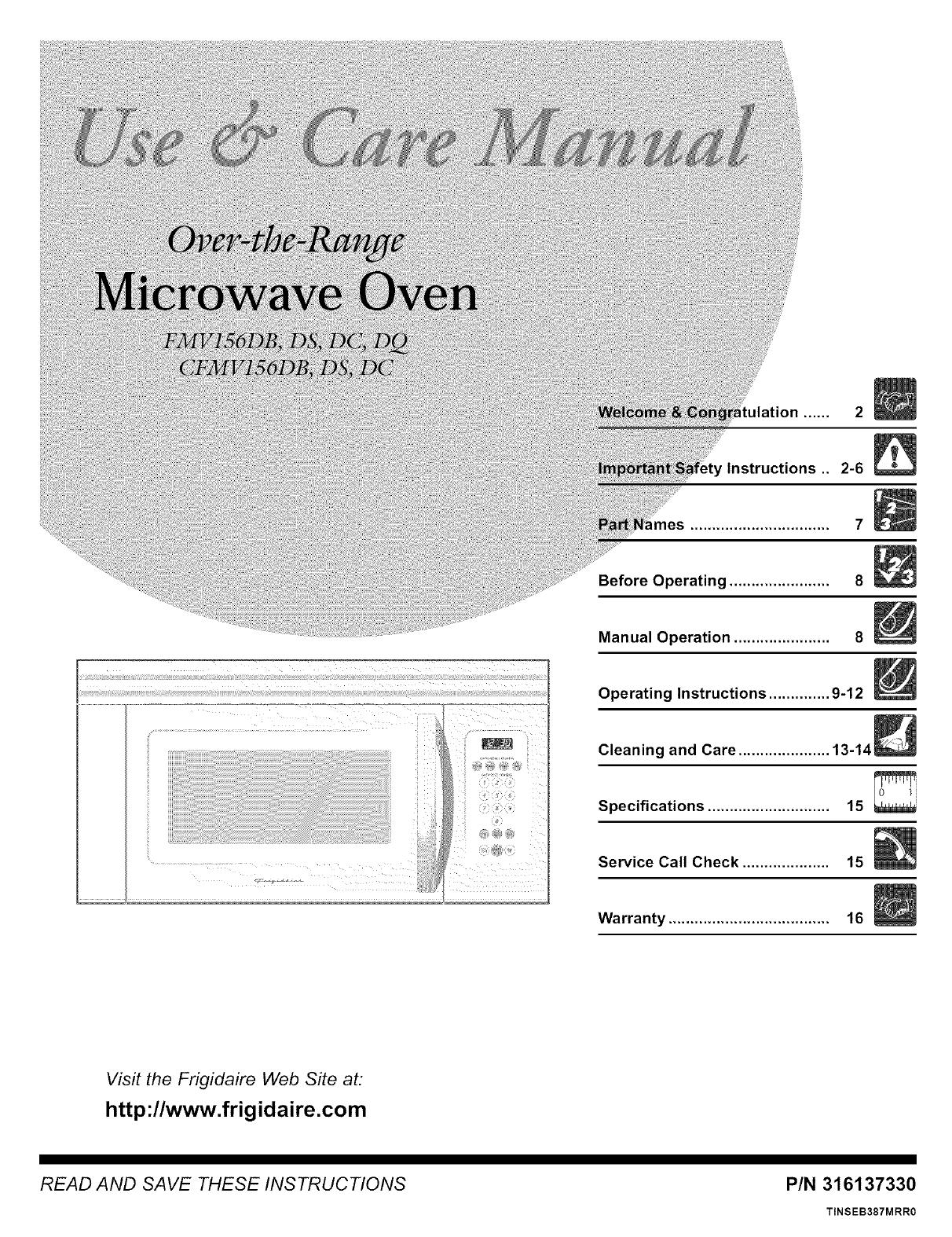 User Manual Microwave Hood Combo