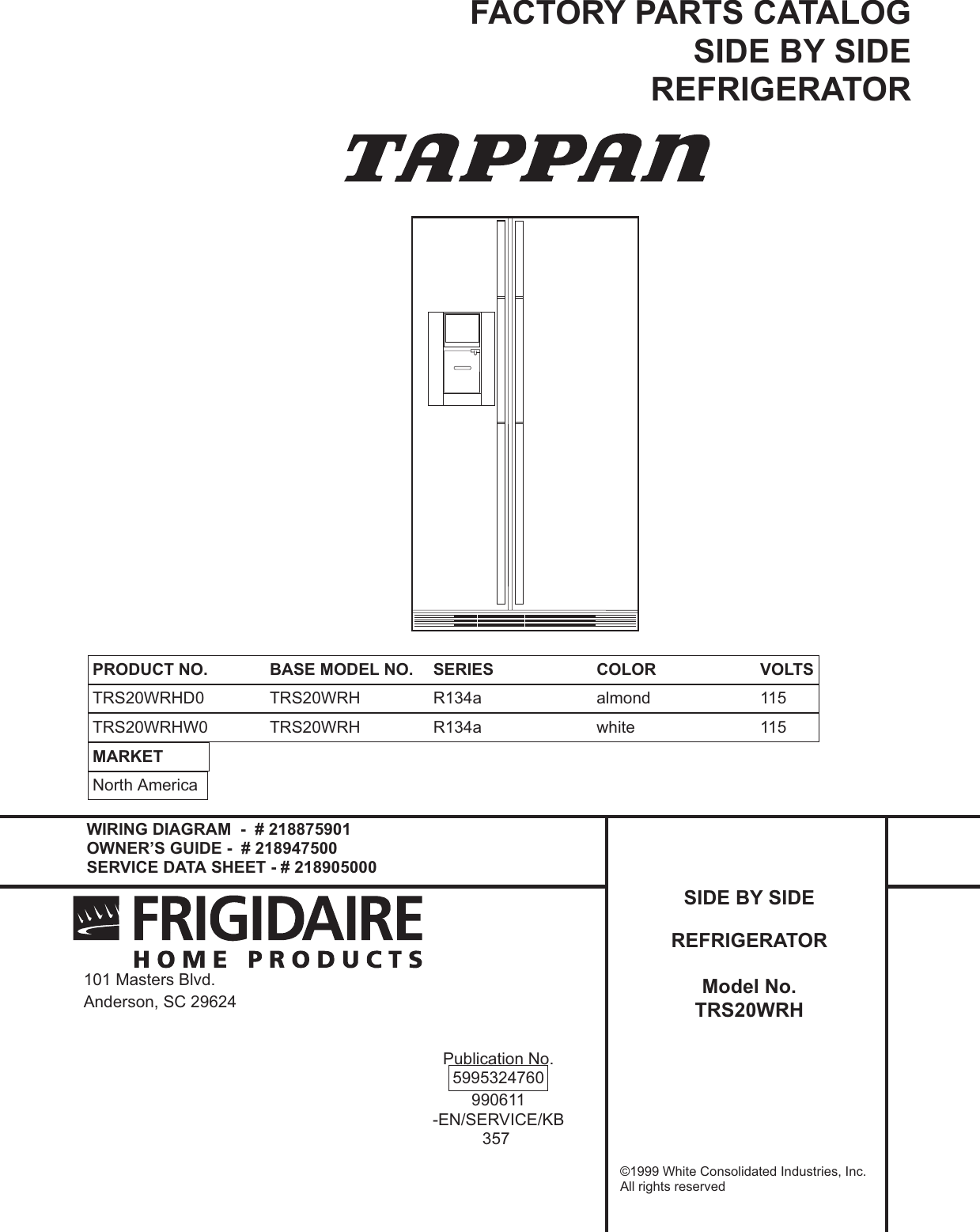 Frigidaire Trs20wrh Users Manual 95324760vp Tappan Ac Wiring Diagram