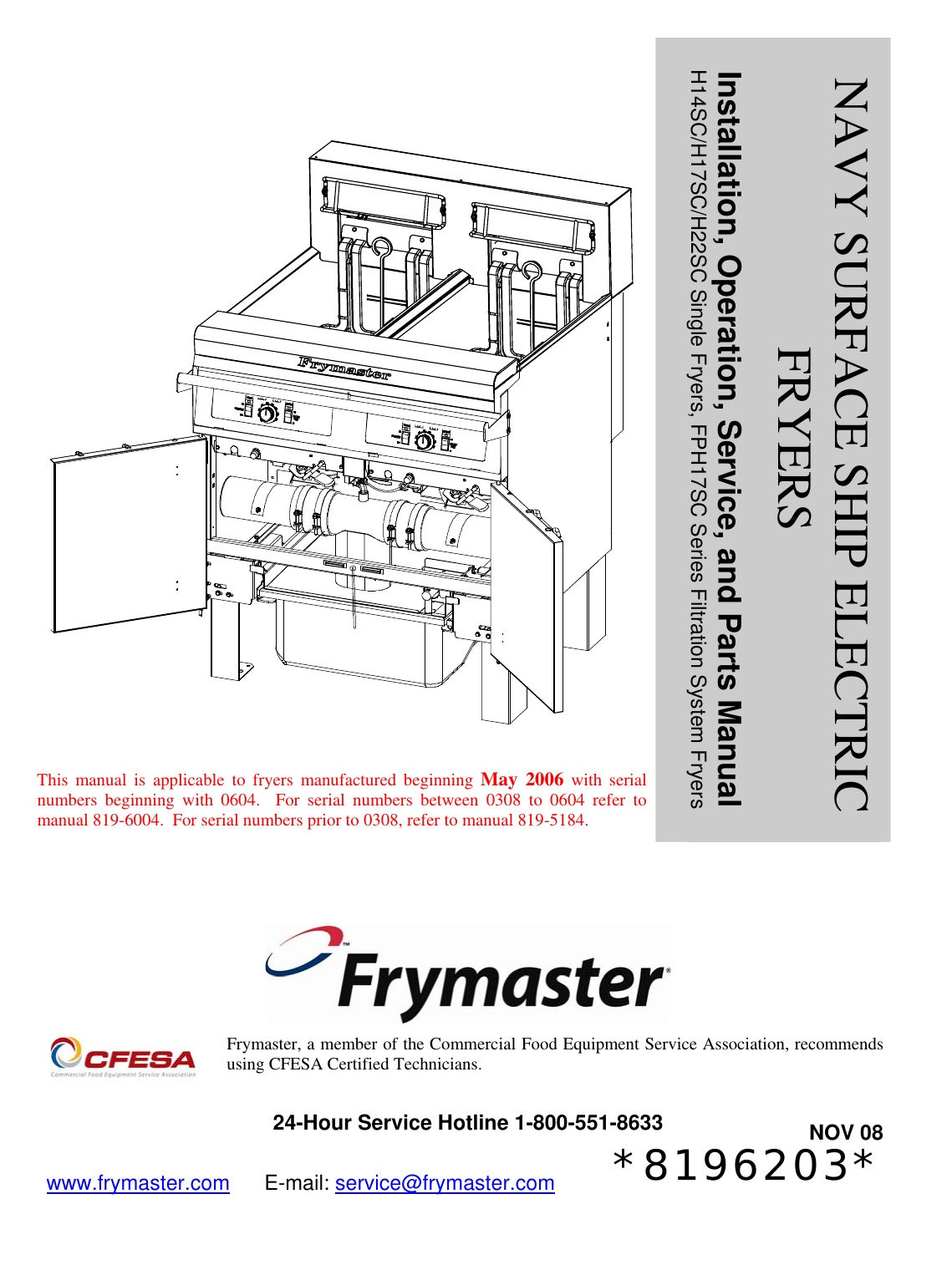 frymaster 8196203 users manual navy surface ship electric iosp front cover