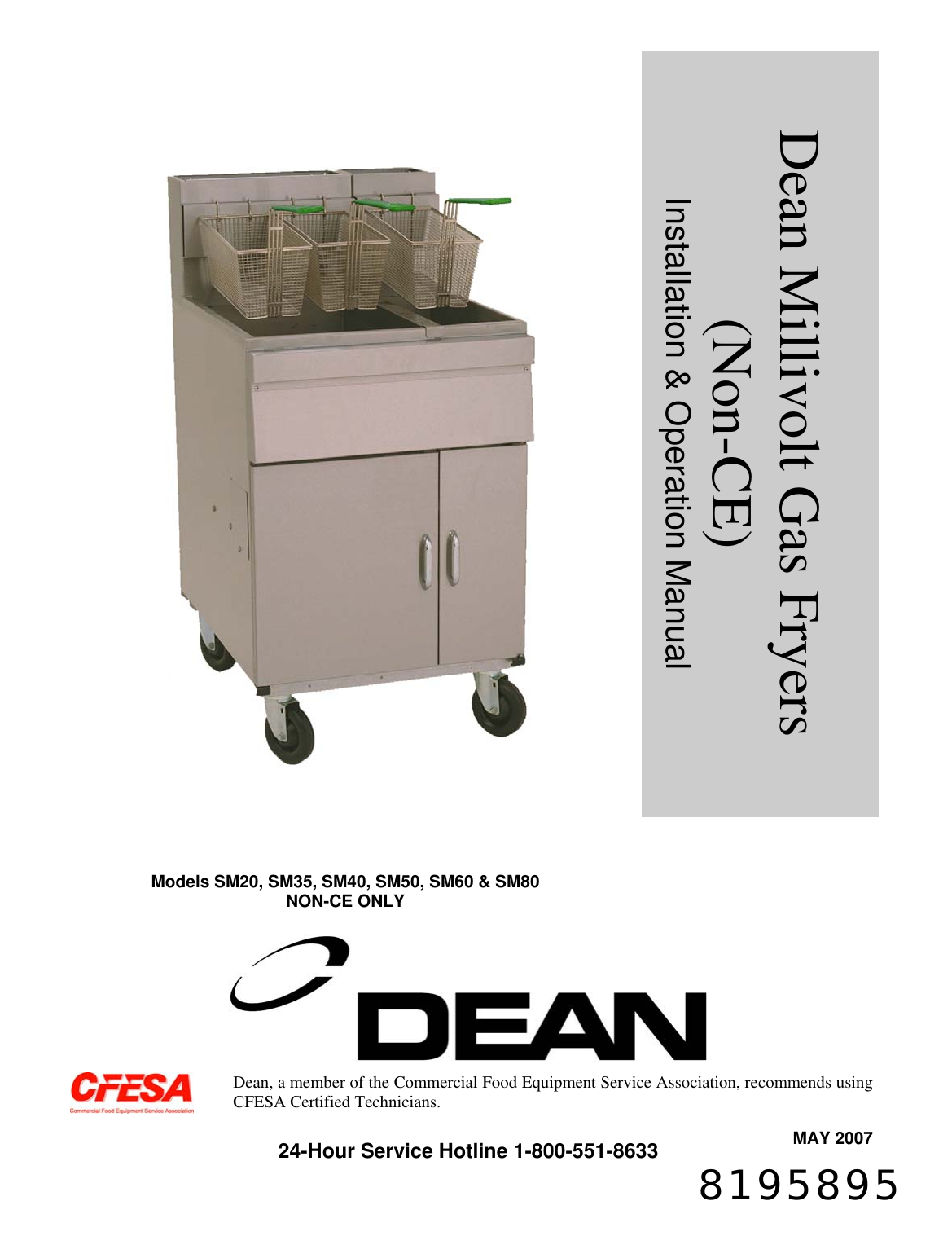 Frymaster Dean Sm35 Users Manual Millivolt Gas _NON CE_ ... on