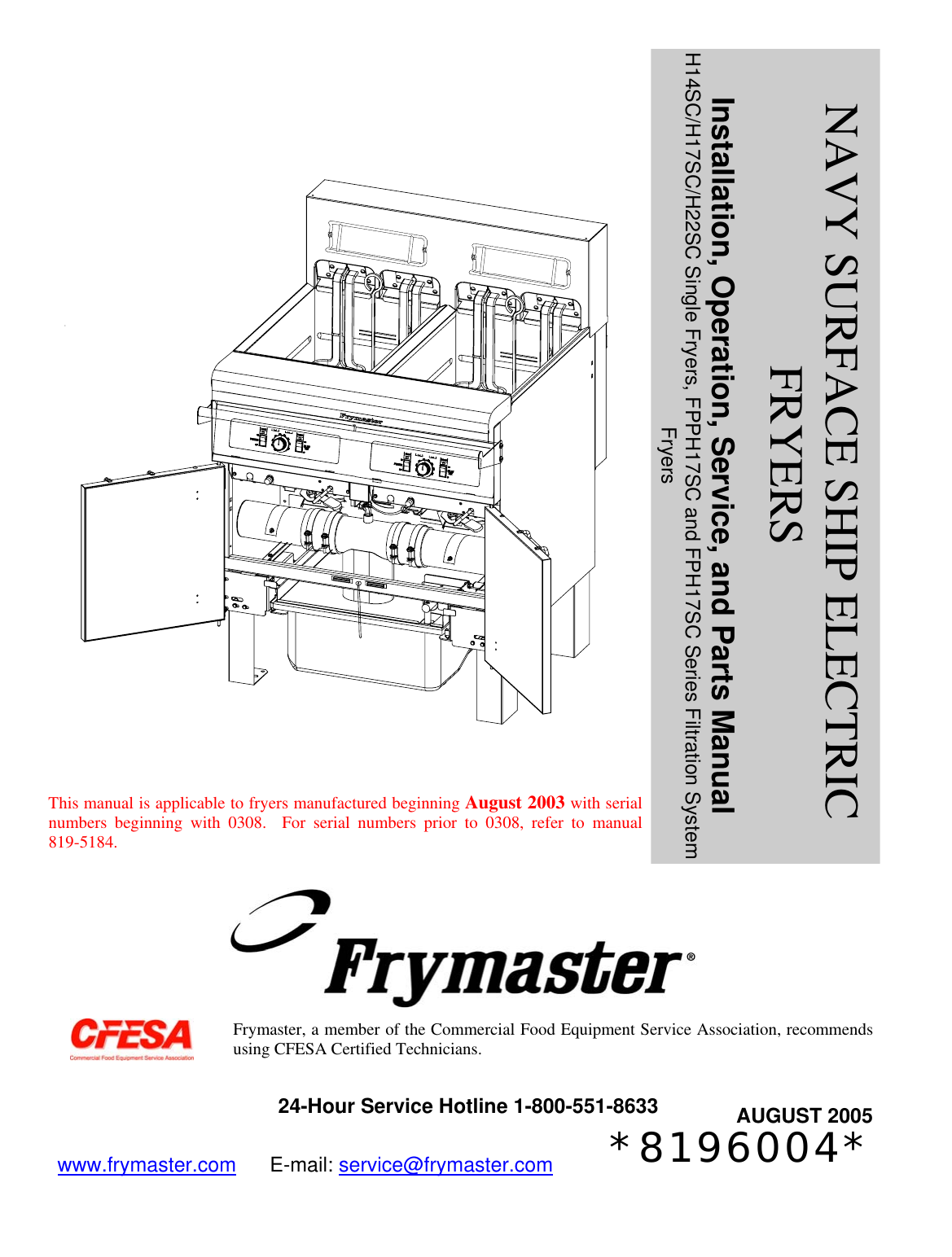 frymaster h14sc users manual 819 6004 aug 05 front cover rh usermanual wiki Simple Wiring Diagrams frymaster fryer wiring diagram