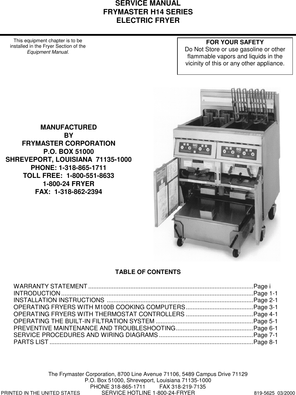 frymaster h14 series users manual operator s