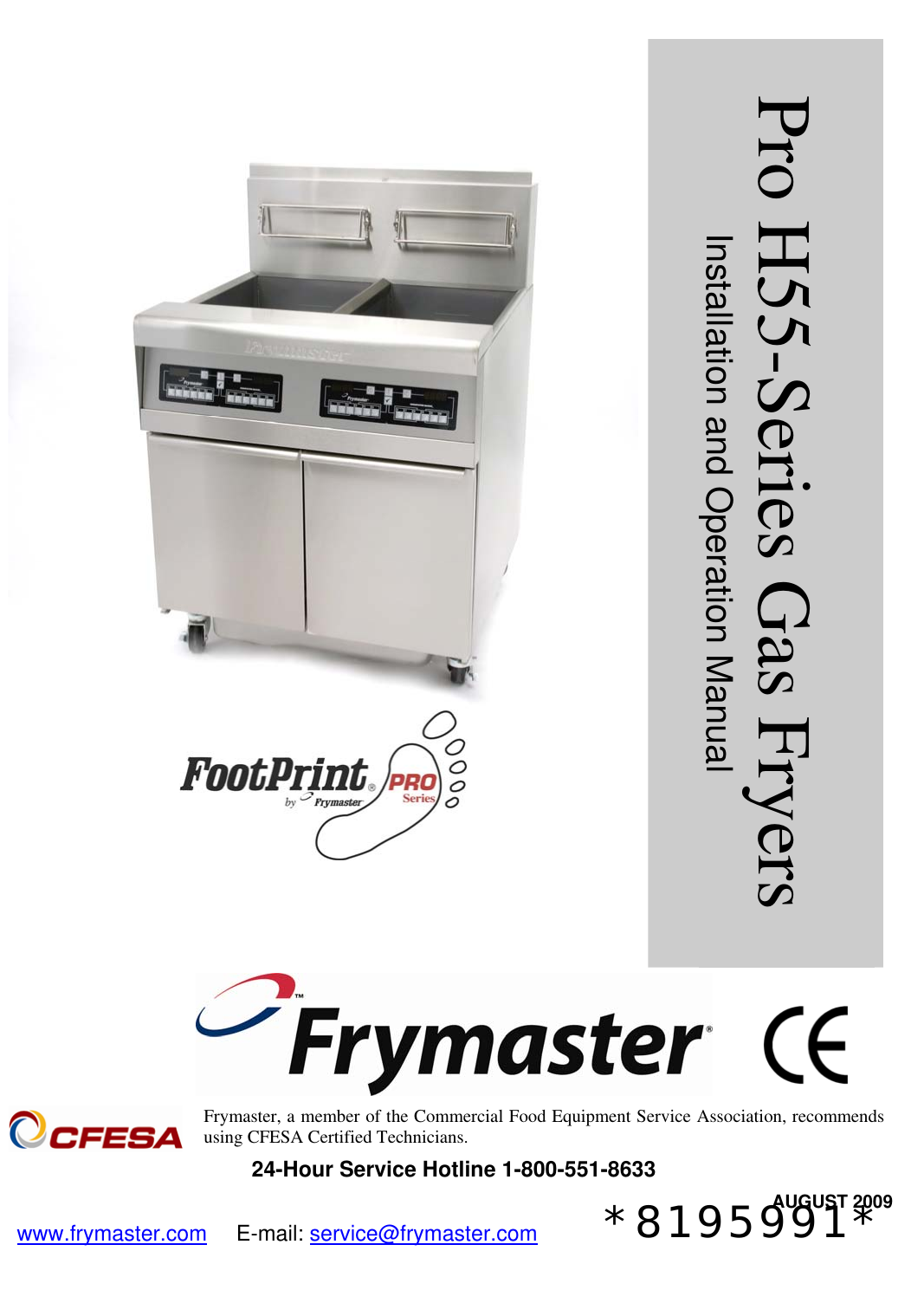 frymaster pro h55 users manual series gas io cover front