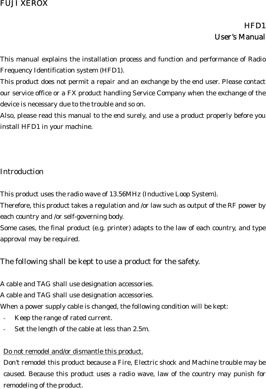 Fuji Xerox HFD1 Transmitter module for use in printers  User