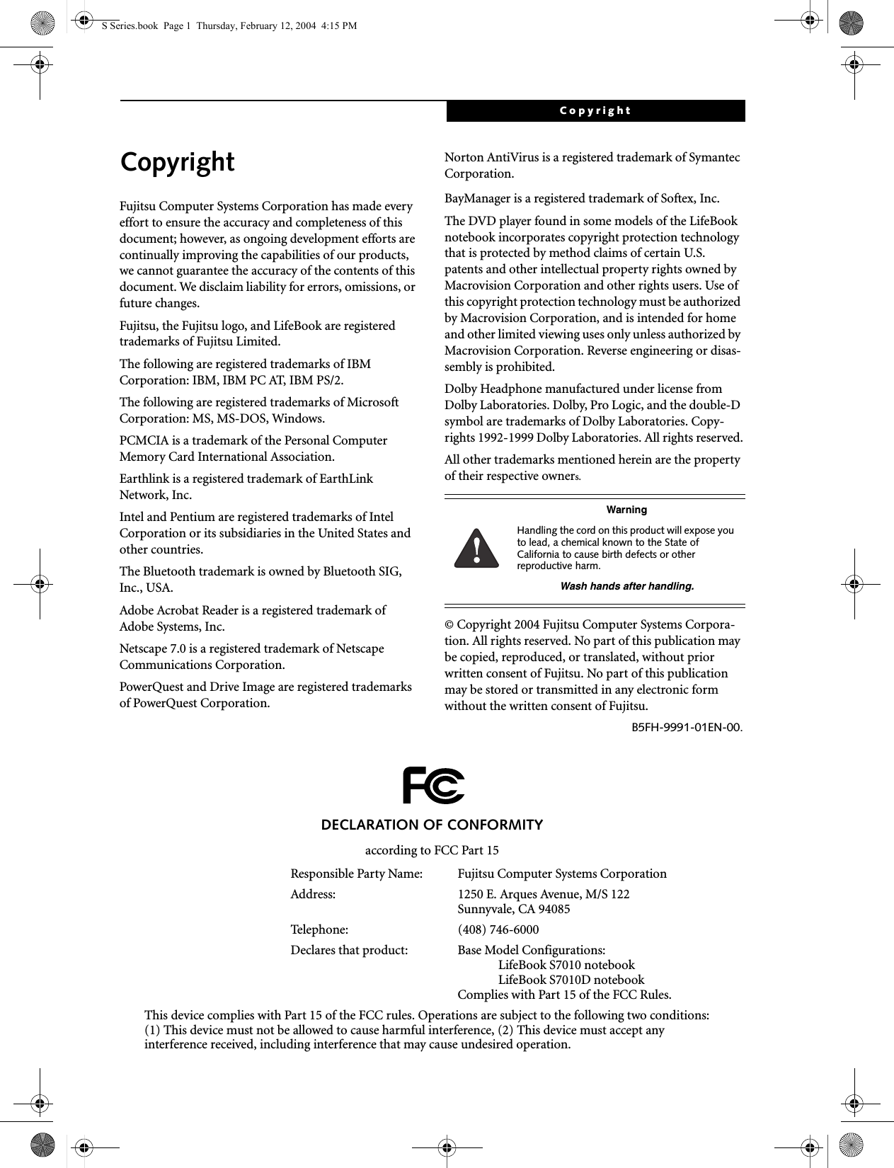 Fujitsu WB0012 LIFEBOOK S SERIES WITH CAL2 11 ABG WLAN & BT User