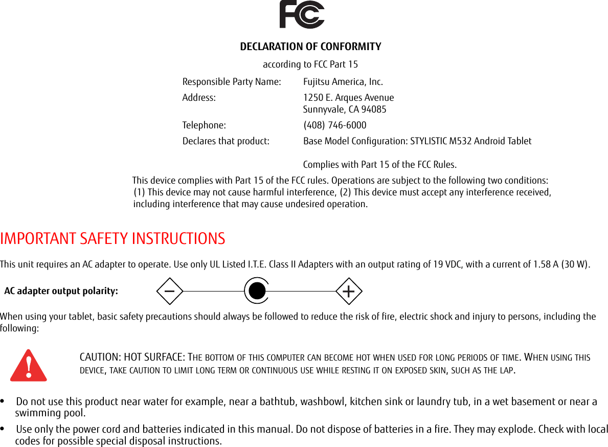 Fujitsu Wb0085 Tablet Pc User Manual M532 Bright Ug Warning Electric Shock Could Occur If Used On Wet Surfaces Important Safety Instructionsthis Unit Requires An Ac Adapter To Operate Use Only Ul Listed Ite