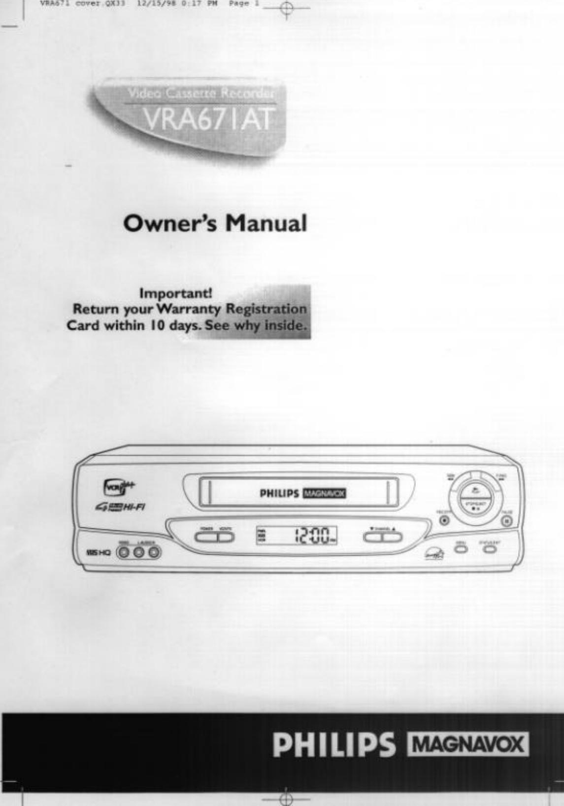 funai electric co vra671 vcr user manual rh usermanual wiki Funai DVD Player Funai SV2000
