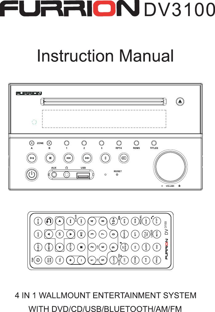 Furrion Dv30 Wall Mount Stereo User Manual Furrion Dv3100