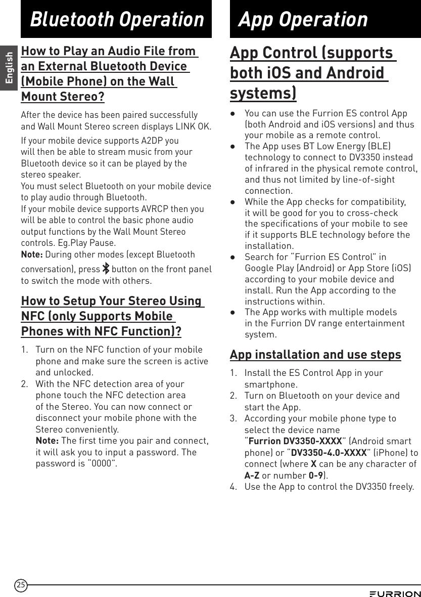 Furrion Dv3350 Rv Wall Mount Stereo User Manual
