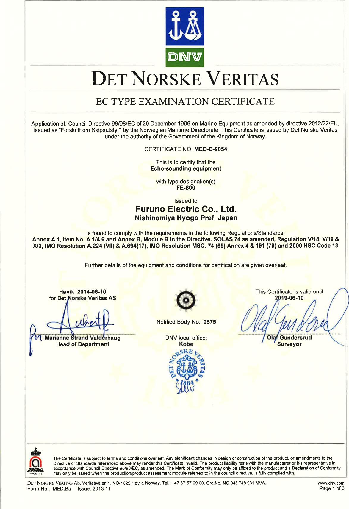 Furuno Fe800 Certification