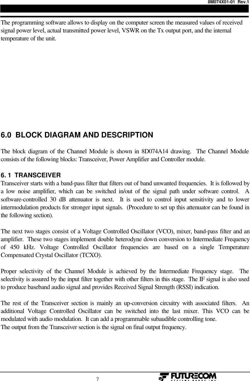 Futurecom Systems Group ULC CMDUHF CMD UHF User Manual 8M074X01