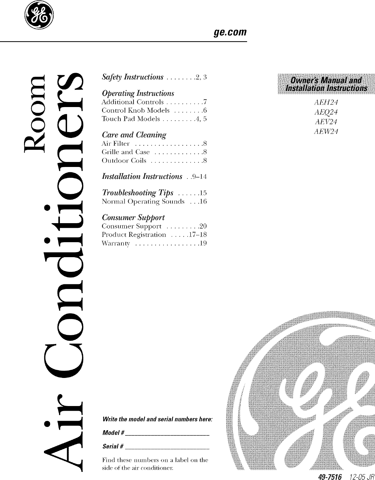 ge aeh24djh1 user manual room air conditioner manuals and guides rh usermanual wiki GE Dryer Repair Manual GE Logiq 9 User Manual