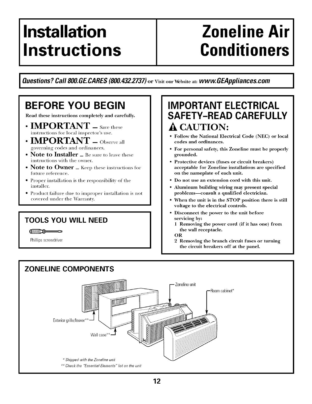 general electric zoneline manual