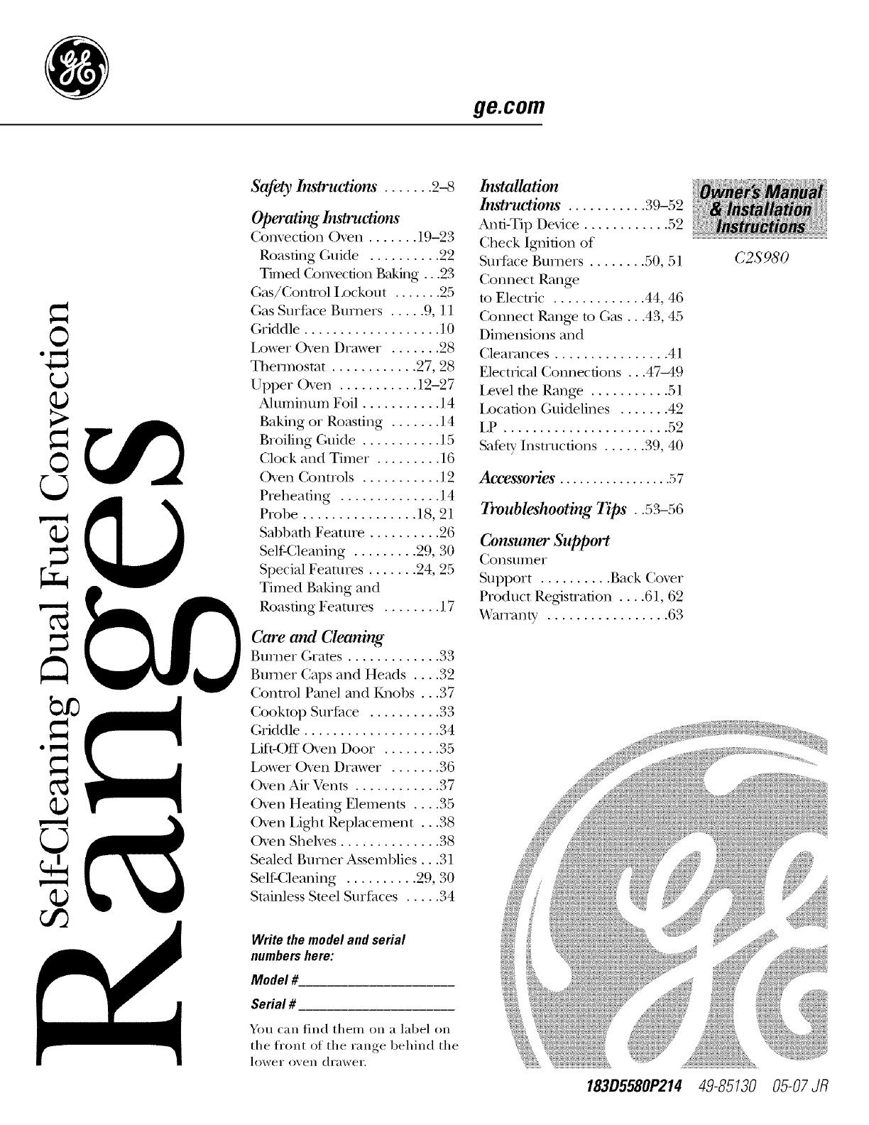 GE C2S980SEM1SS User Manual DUAL FUEL RANGE Manuals And
