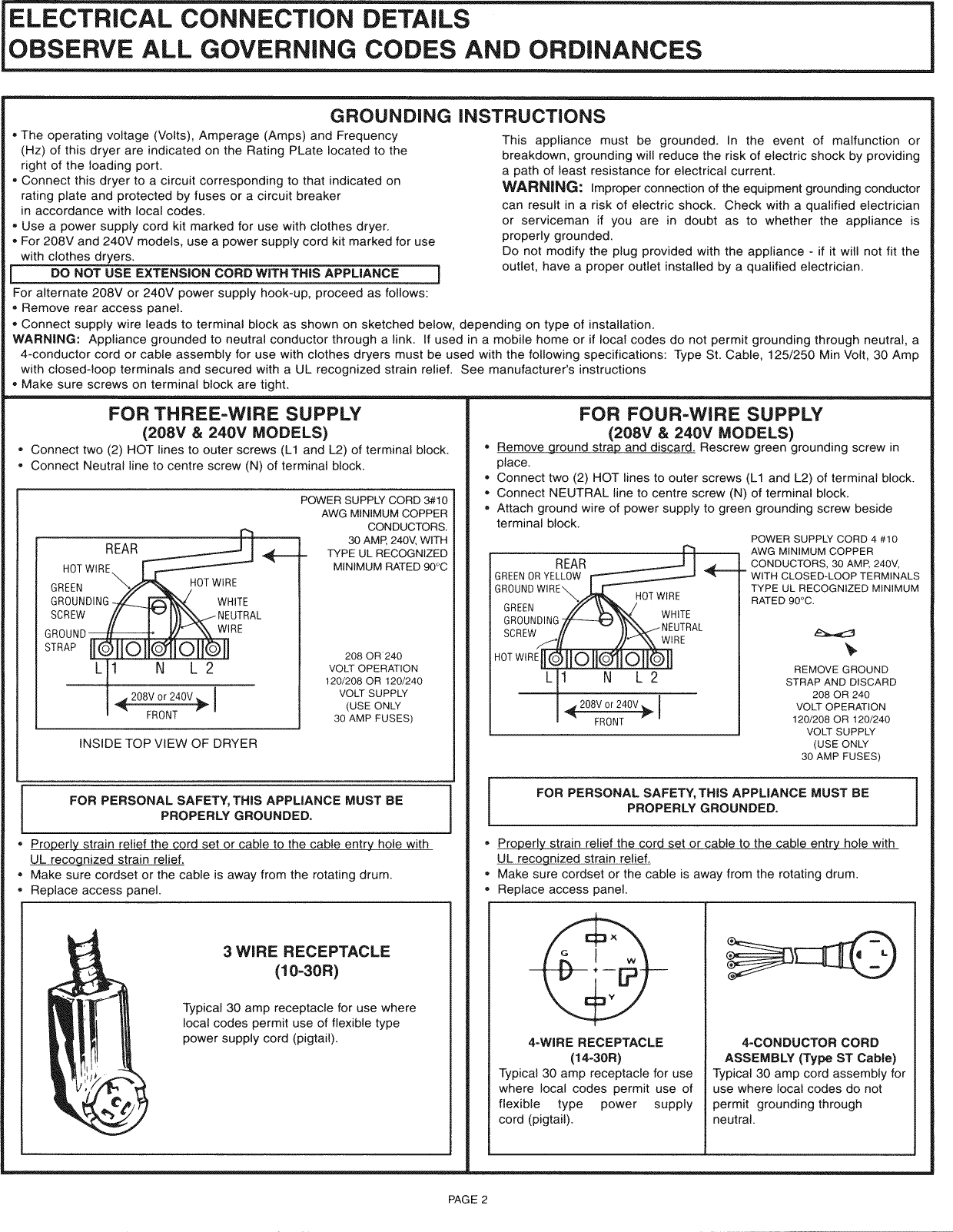 Ge Dskp333ec0ww User Manual Electric Dryer Manuals And Guides L0809330 Three Wire Diagram Page 2 Of 4