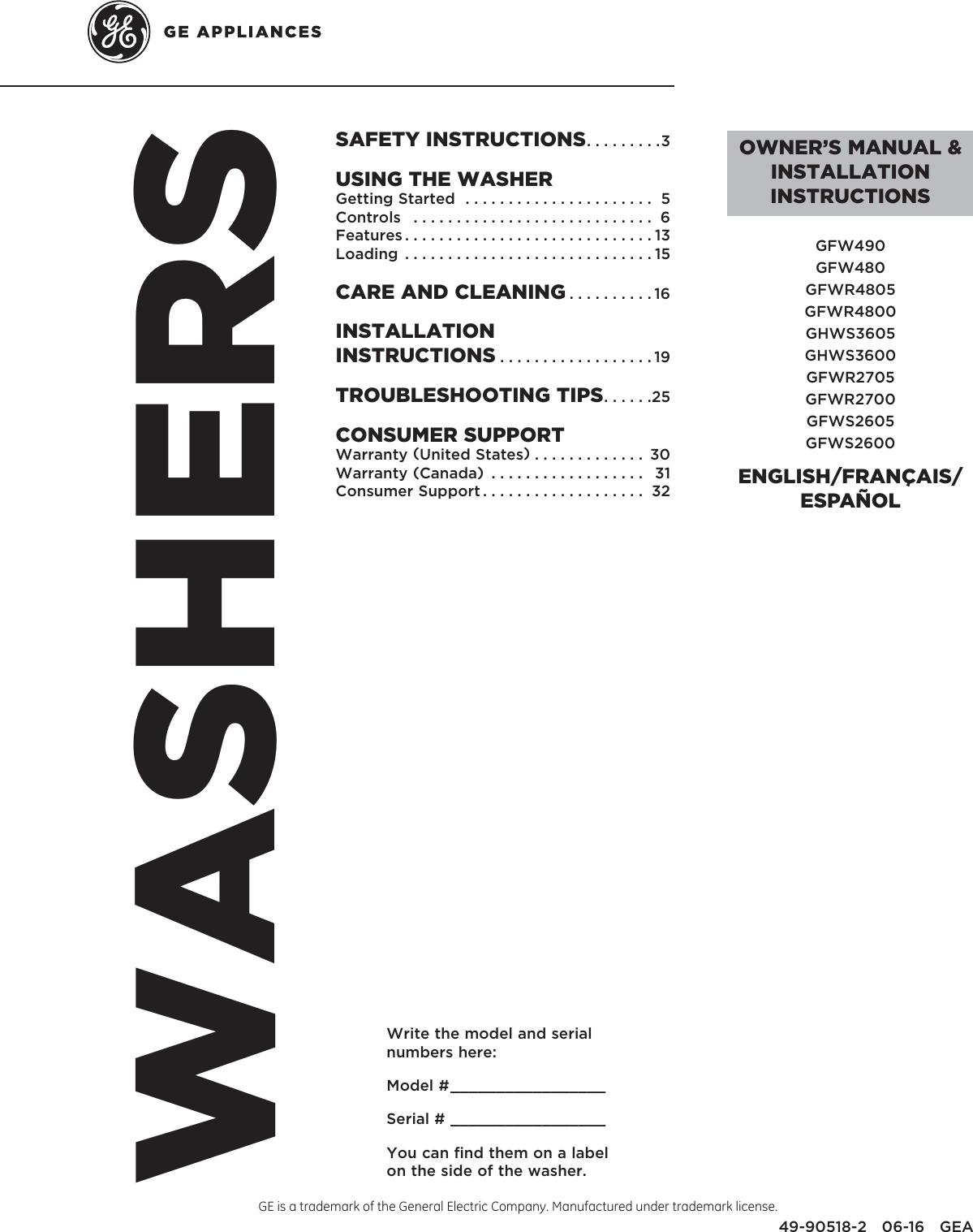 ge washer user manual free owners manual u2022 rh wordworksbysea com general electric washing machine service manual GE Profile Harmony Washer