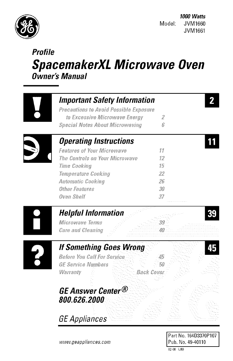 Ge Microwave Oven Combo Manual