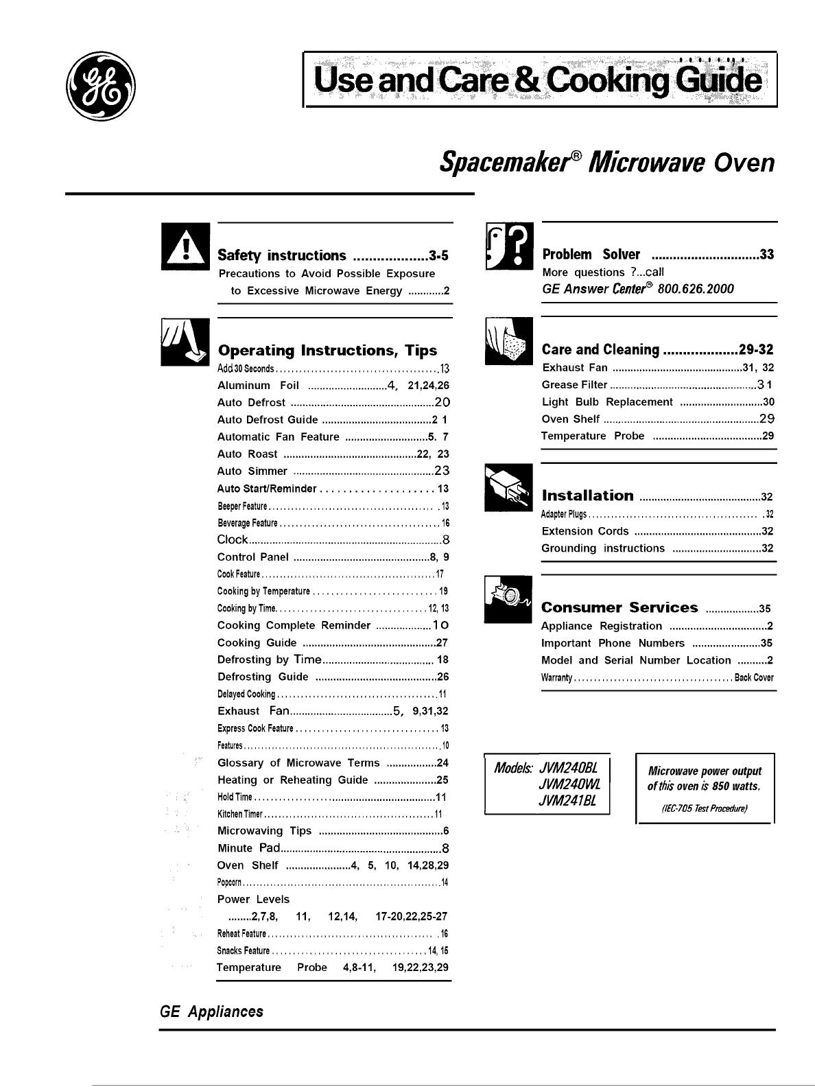 Jvm240bl01 User Manual Microwave Oven
