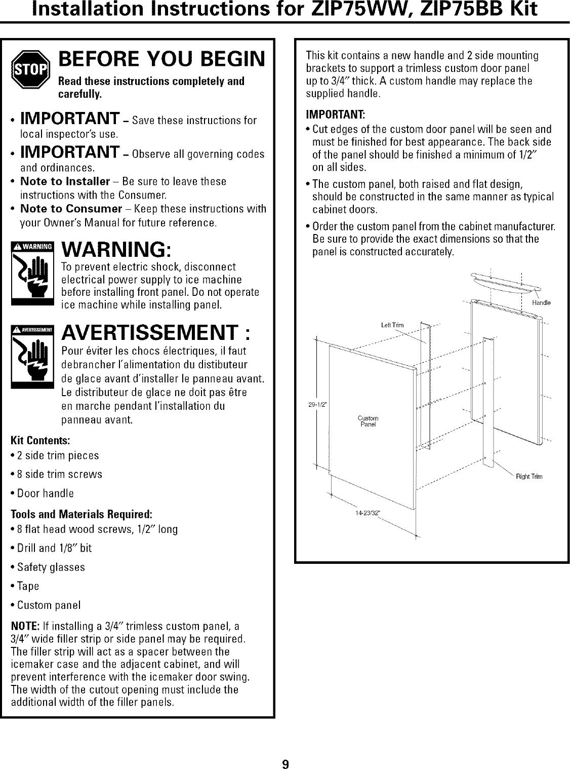 GE MONOGRAM Freestanding Icemaker Manual L0523268