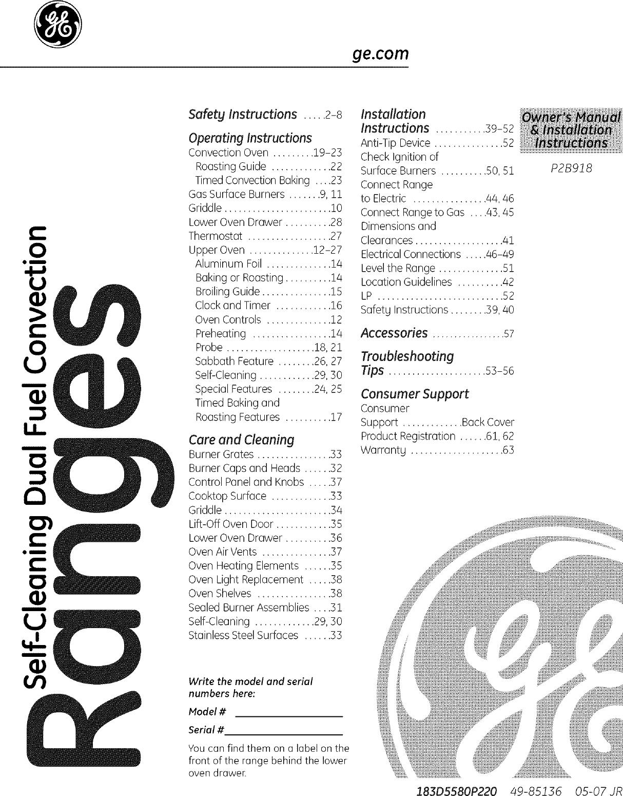 GE Range, Electric/Gas Manual L0707048