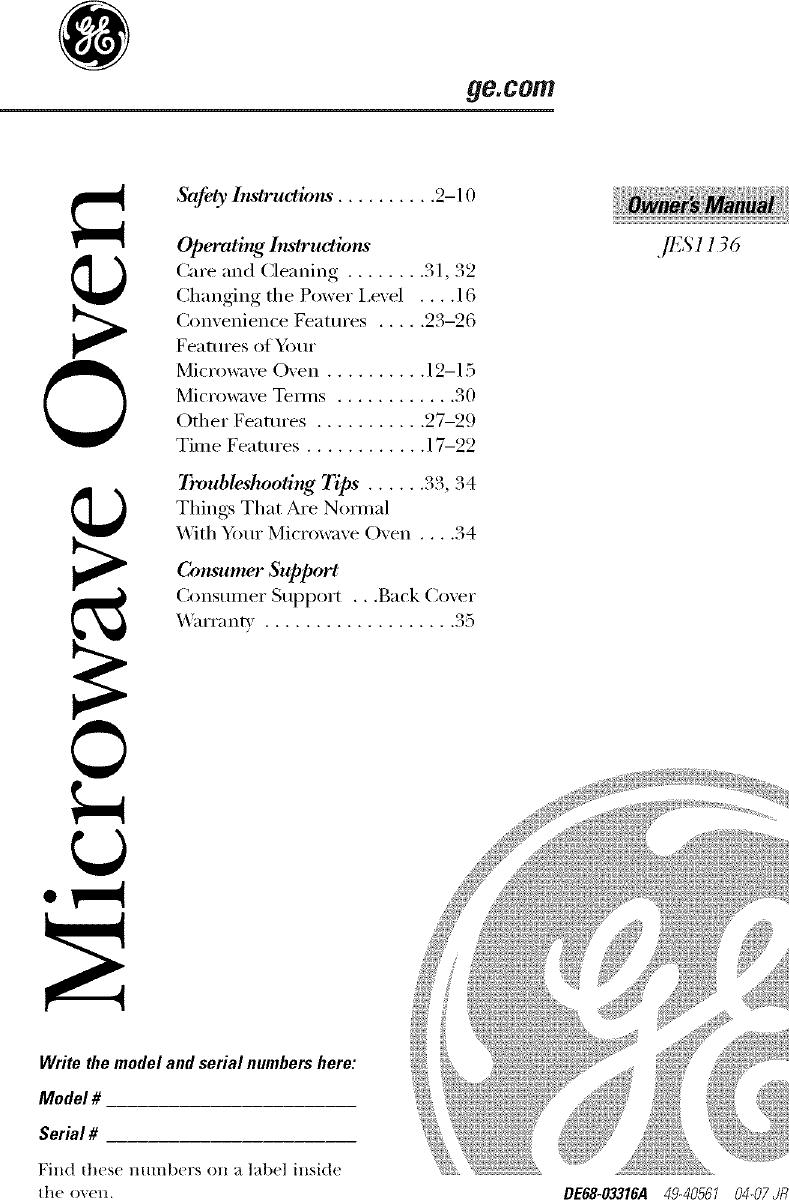 ... Array - ge countertop microwave manual lr707381 rh usermanual wiki ...