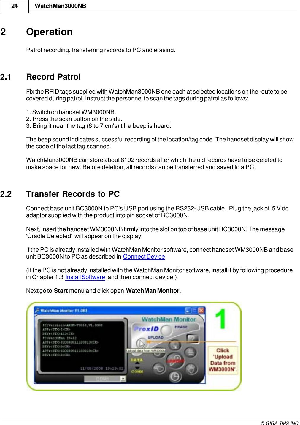 GIGA TMS WM3000NB Guard Tour Terminal User Manual