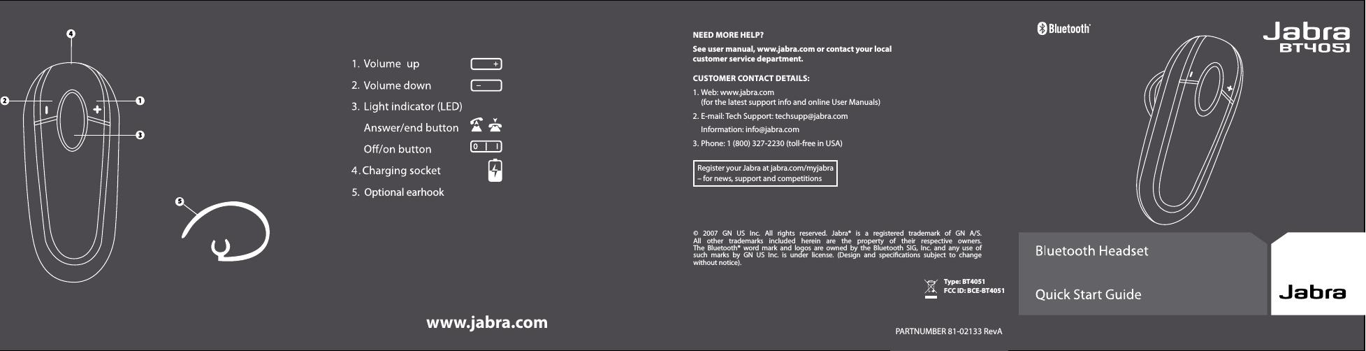Gn Audio Usa Bt4051 Jabra Bt4051 Bluetooth Headset User Manual