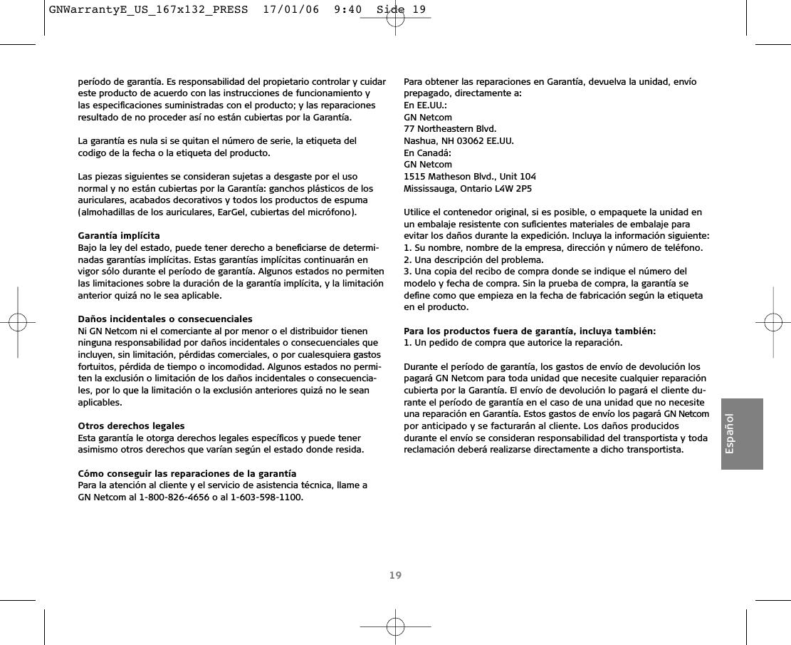 GN Audio USA T5330HS Jabra T5330HS User Manual