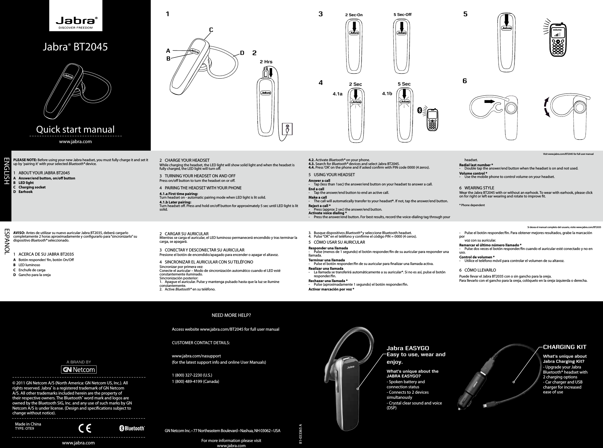 Gn Netcom Ote9 Jabra Ote9 Bluetooth Headset User Manual Jabra Ote9 Userman