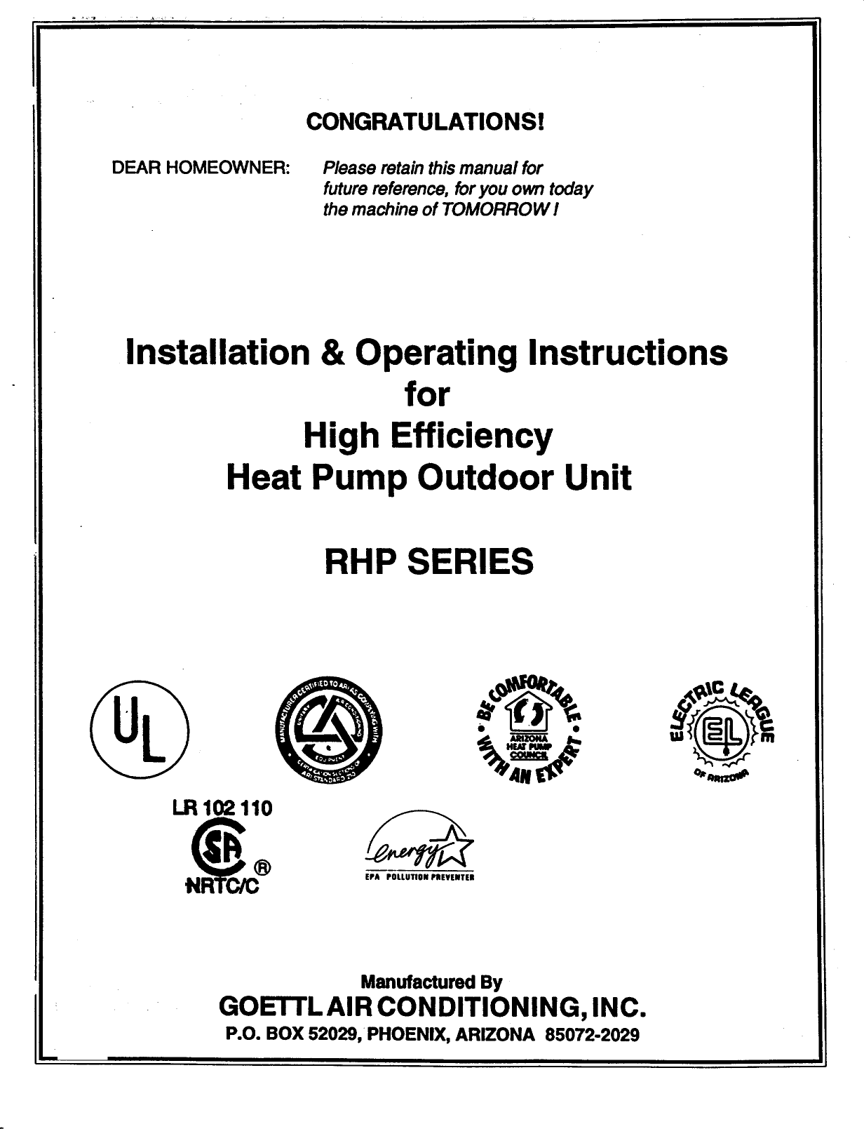 GOETTL Air Conditionerheat Pumpoutside Unit Manual 98090202