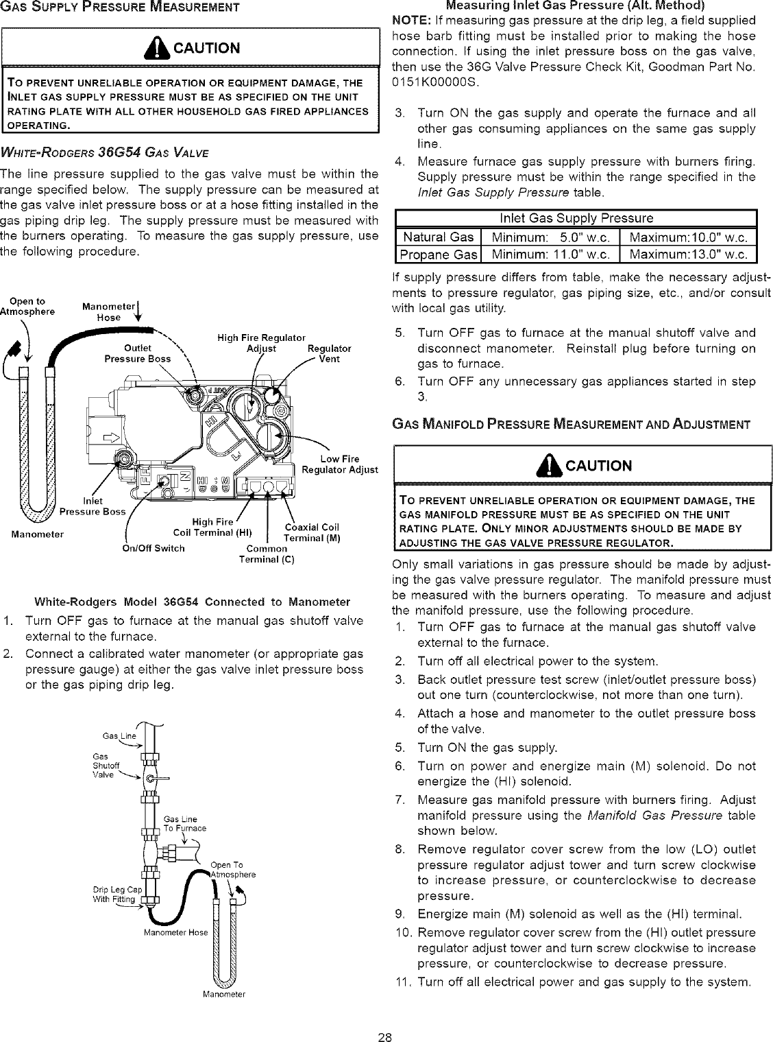 GOODMAN Furnace/Heater, Gas Manual L0806732