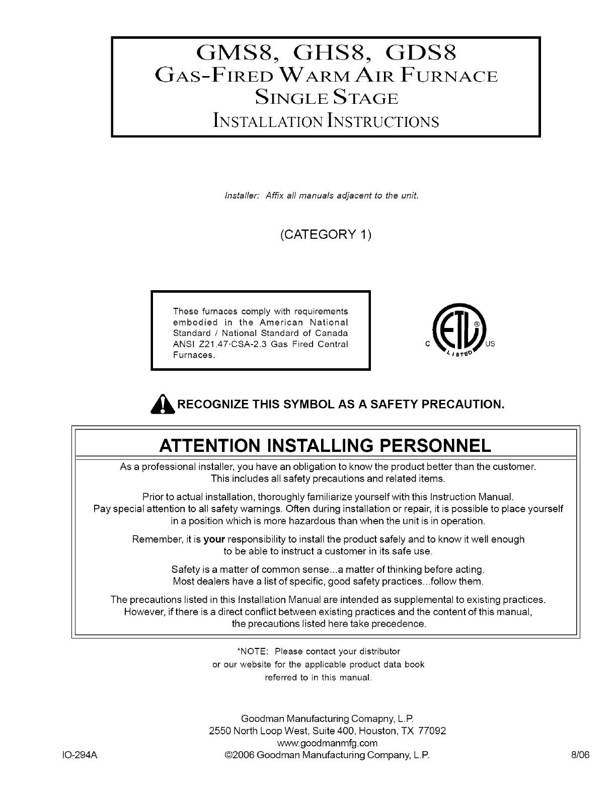 GOODMAN Furnace/Heater, Gas Manual L0806733
