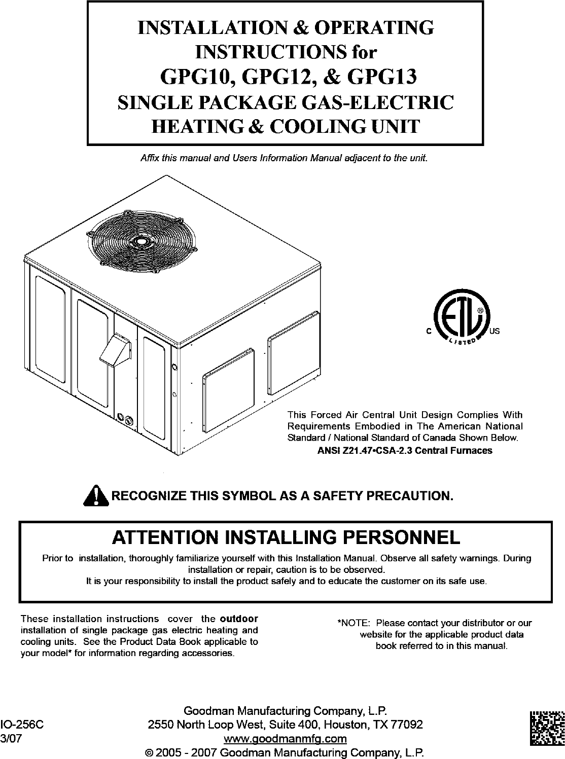 Goodman Package Unitsboth Units Combined Manual L0806745 Gas Furnace Wiring Diagram Of Residential Central
