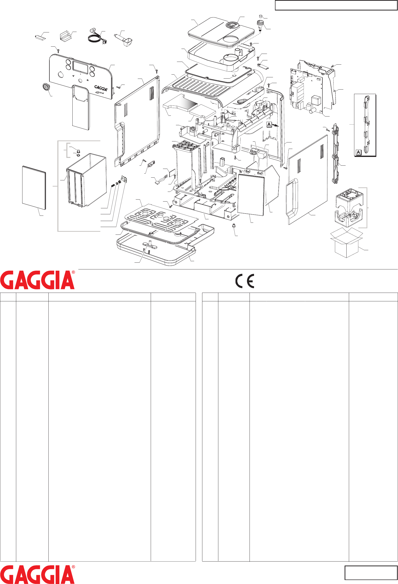 Gaggia Brera Parts Diagram User Manual