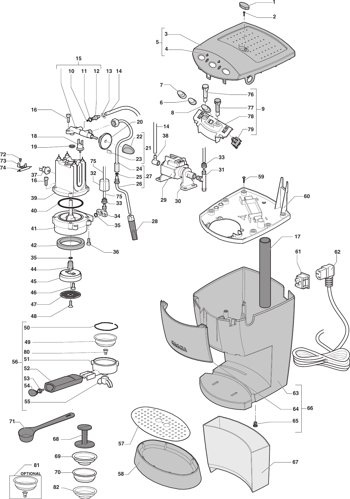 Gaggia Evolution Parts Diagram Espresso Evolution Er0157