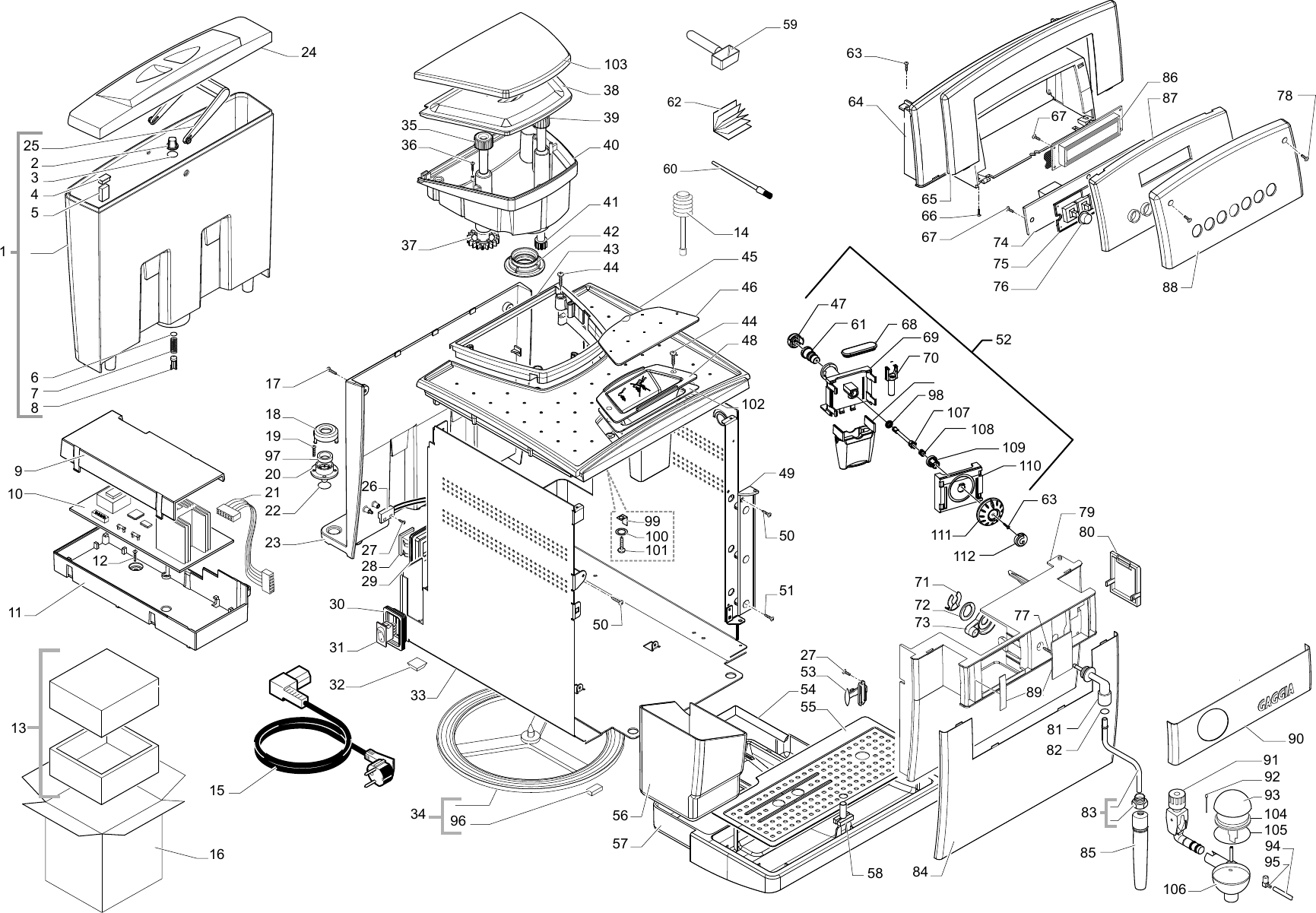 Gaggia Titanium Parts Diagram Sup027ydr E74075 01 Rev04