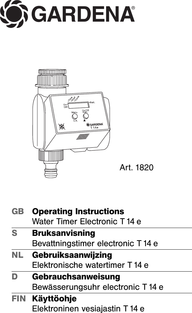 gardena water timer instructions