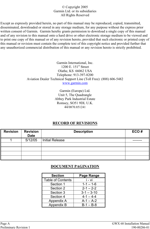 Garmin 0060200 Aircraft Mounted Weather Radar Transmitter User Wiring Diagram Page A Gwx 68 Installation Manualpreliminary Revision 1 190 00286 01 Copyright 2005garmin