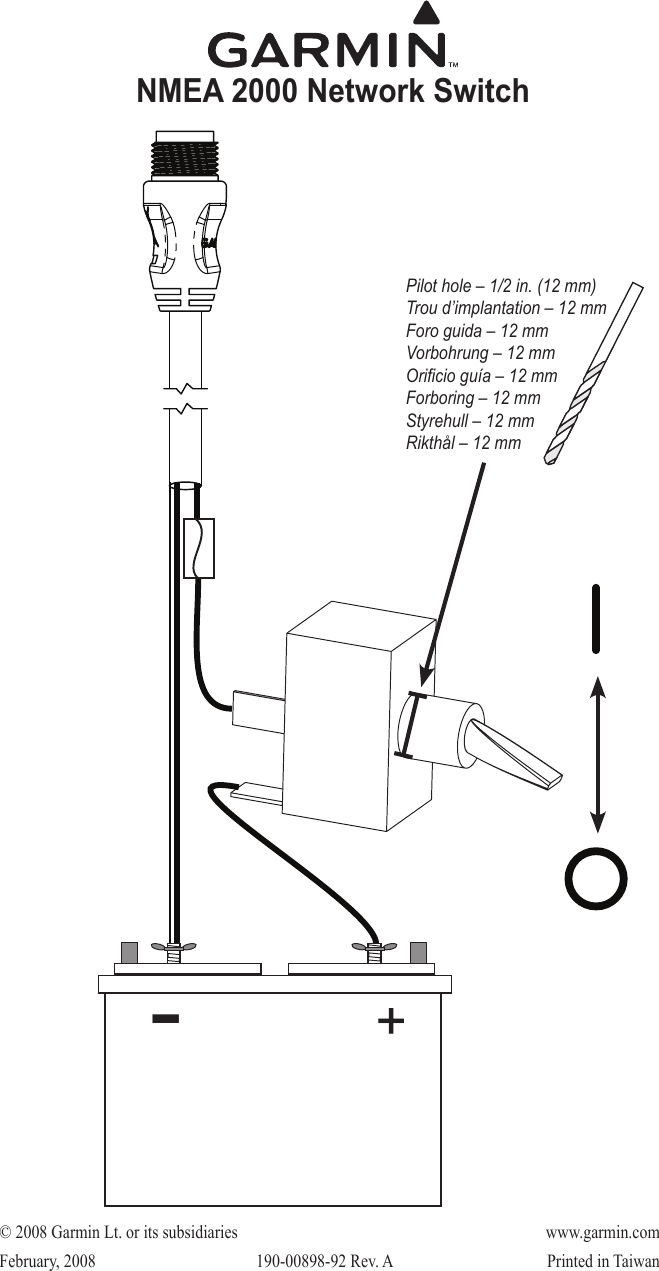 Garmin Nmea 2000 Wiring Diagram Schematics Diagrams Nema 343 M Network Switch Manual Installation Instructions Power Wires