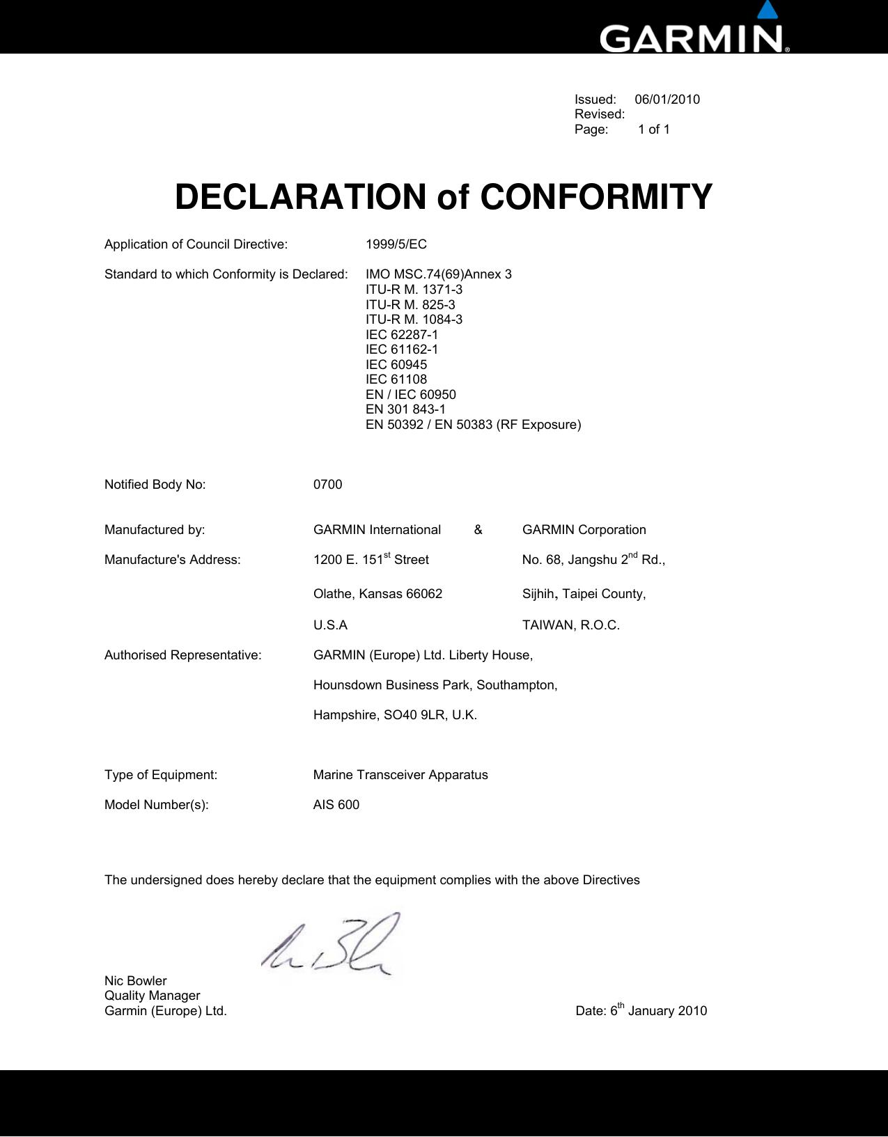 Garmin Ais 600 Blackbox Transceiver Declaration Of
