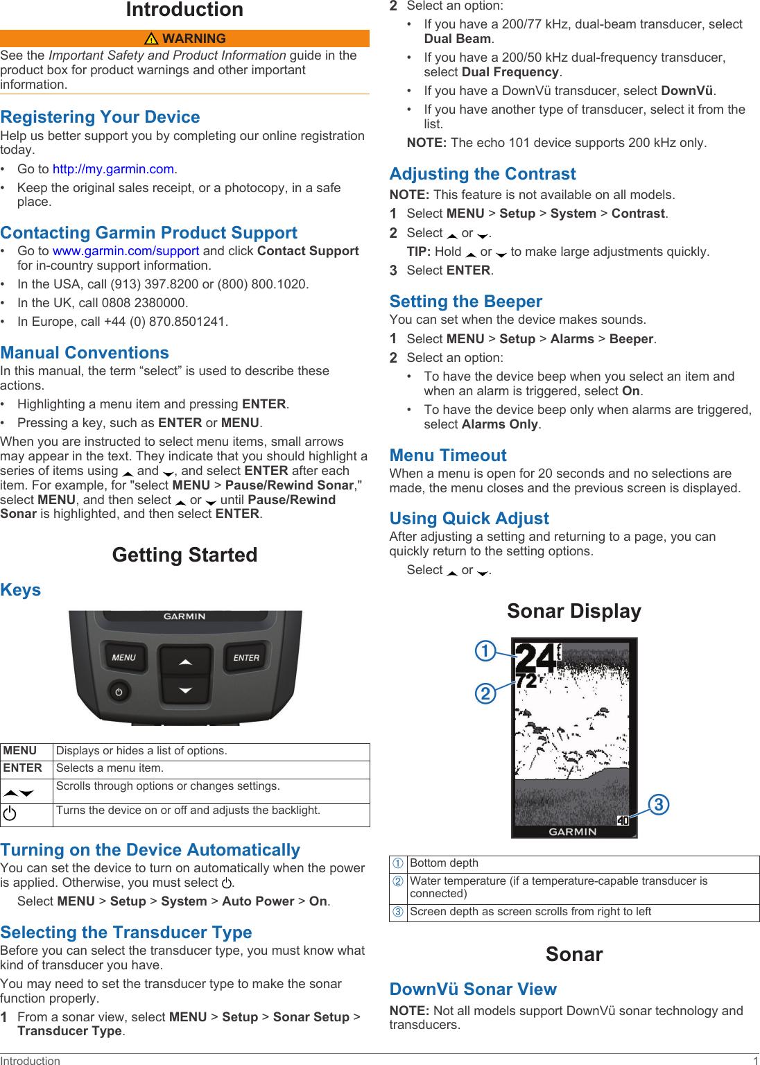 Garmin Echo 101 Owners Manual