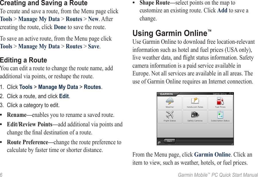 Garmin Mobile Pc For Toshiba Quick Start Manual
