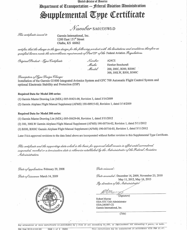 Garmin Mdl Rev 12 Sa01535wi D Faa Supplemental Type Certificate